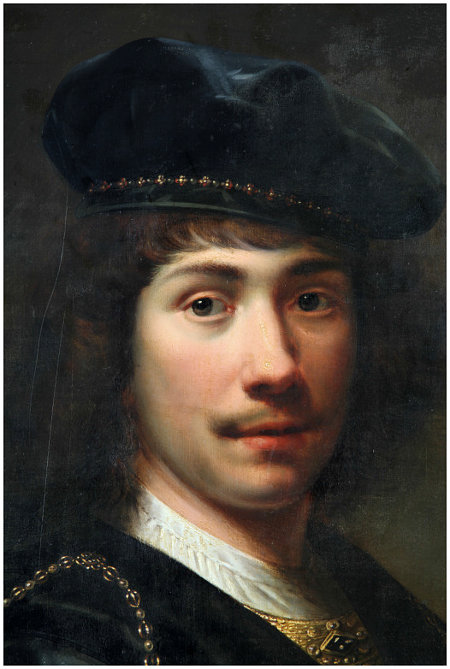 Click the image for a view of: Detail of the portrait showing the overpaint in the area of the mouth, as dark. The surface scratches of the varnish can also be noted, as well as the overall craquelure.