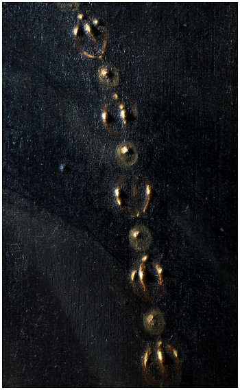 Click the image for a view of: Detail of the chain, including the impasto highlights