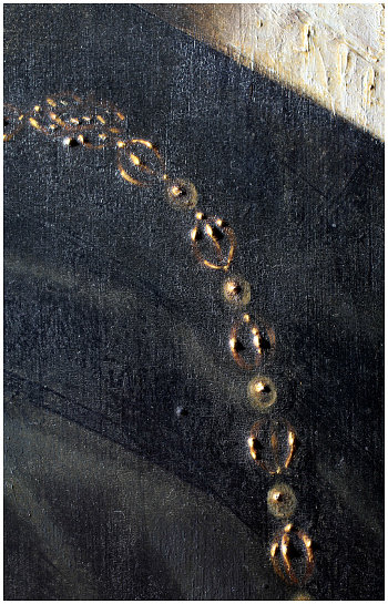 Click the image for a view of: Detail showing the craquelure of the varnish layer