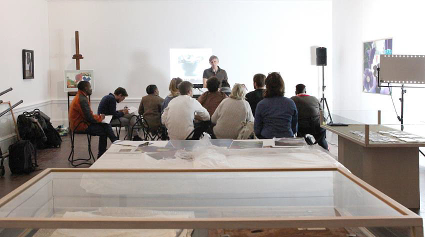 Click the image for a view of: The artist Michael Pettit speaking about his work with the students.